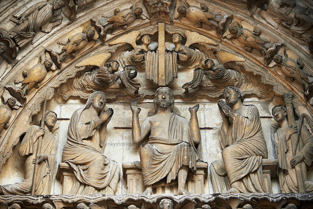 Pictures of Chatres Cathedral Gothic Sculptures,  France  - Stock Photos