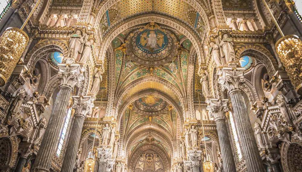 Inside La Basilique Notre Dame de Fourviere in Lyon